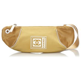 Chanel-Chanel Gold CC Sports Line Nylon Belt Bag-White,Golden