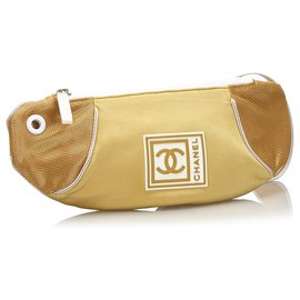 Chanel-Sac ceinture en nylon Chanel Gold CC Sports Line-Blanc,Doré