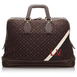 Louis Vuitton-Louis Vuitton Mini Lin Initiales Isfahan Sac de Voyage Marron-Marron,Marron foncé
