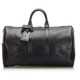 Louis Vuitton-Louis Vuitton Black Epi Keepall 45-Noir