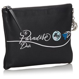 Dior-Dior Black Printed Leather Clutch Bag-Black