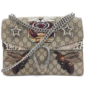 Gucci-Gucci Dionysus Canvas Bees lined Chain Multicolor Python-Multicolore