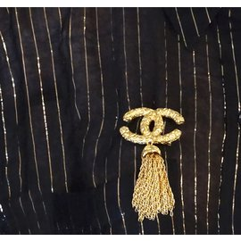 Chanel-Chanel Gold CC Textured with Tassel Hardware Brooch-Golden