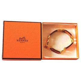 Hermès-Burgundy leather and gold metal bracelet-Dark red