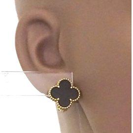Van Cleef & Arpels-VAN CLEEF & ARPELS 18k Boucles d'oreilles Vintage Alhambra en onyx noir-Noir