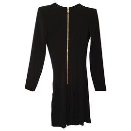 Balmain-Robe Courte De Luxe Noire Brodé Balmain-Noir