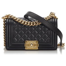 Chanel-Chanel Black Lambskin Leather Small Boy Flap Bag-Black