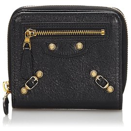 Balenciaga-Balenciaga Black Leather City Wallet-Black