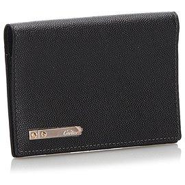 Cartier-Couverture de passeport en cuir de vachette noir Cartier Santos-Noir