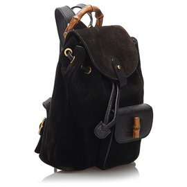 Gucci-Gucci Brown Bamboo Suede Backpack-Brown,Dark brown