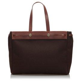 Hermès-Hermes Marron Herbag Cabas MM-Marron,Rouge