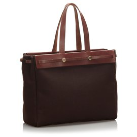 Hermès-Hermes Brown Herbag Cabas MM-Brown,Red