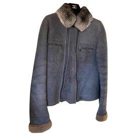 Chanel-Veste peau lainée mouton avec col chinchilla-Gris