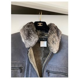 Chanel-Sheepskin jacket with chinchilla collar-Grey