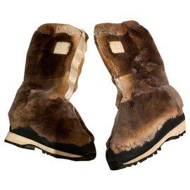 Chanel-Rabbit fur winter boots-Grey