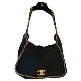 Chanel-Chanel quilted suede bag-Black