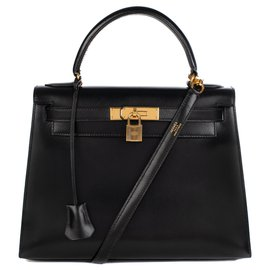 Hermès-hermes kelly 28cm saddler with black box leather strap, gold plated metal trim, In excellent condition-Black