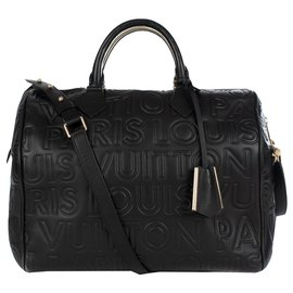 Louis Vuitton-Sac Louis Vuitton speedy 30 in black imprinted leather, limited series from fall-winter fashion shows 2008, In excellent condition-Black