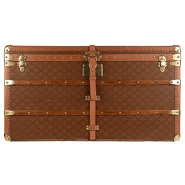 """Autre Marque-Superb Mail Trunk """"In the United conditions"""" in brown canvas, CIRCA 1900-Brown"""