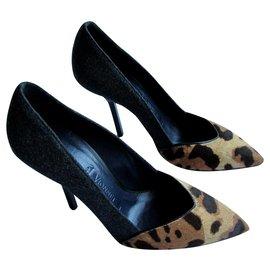 Vionnet-Talons-Imprimé léopard,Gris anthracite