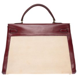Hermès-hermes kelly 35 bi-material in beige canvas and burgundy box leather, gold plated metal trim-Beige,Dark red