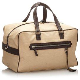 Prada-Prada Brown Canvas Travel Bag-Brown,Beige