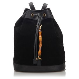 Gucci-Gucci Black Bamboo Suede Drawstring Backpack-Black