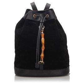 Gucci-Gucci Sac à dos à cordon en daim de bambou noir-Noir