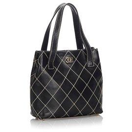 Chanel-Chanel Black Surpique Leather Tote Bag-Black