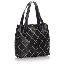 Chanel-Sac cabas en cuir Surpique noir Chanel-Noir