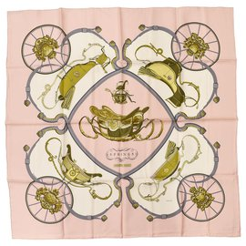 Hermès-Foulard en soie rose SPRINGS by Philippe Ledoux-Rose