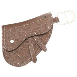 Dior-Dior Suddle Key Holder Pouch-Brown