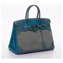 Hermès-Birkin 35-Blue,Grey