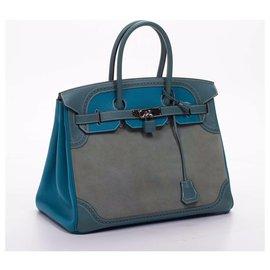 Hermès-Birkin 35-Bleu,Gris
