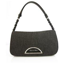 Christian Dior-Christian Dior Malice dark Gray Denim Fabric Shoulder Bag Flap Bag-Dark grey
