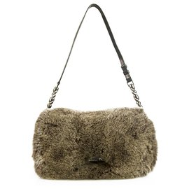 Christian Dior-Christian Dior Malice Brown Rabbit Fur & Black Wool Fabric Shoulder Bag Flap Bag-Brown,Black