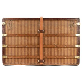 Louis Vuitton-Superb vintage Louis Vuitton Courier trunk in striped canvas 1880/1890, perfect for interior decoration-Brown