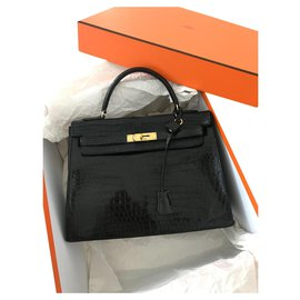 Hermès-Kelly Croco-Black