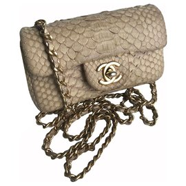Chanel-Timeless Mini Flap Bag luxurious python-Beige,Cream