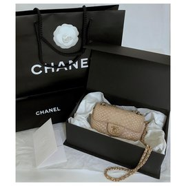 Chanel-Mini sac à rabat intemporel en python luxueux-Beige,Écru