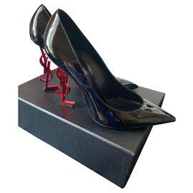 Saint Laurent-Heels-Black,Dark red