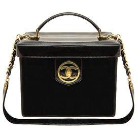Chanel-rare patent leather vanity bag-Black