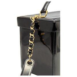Chanel-rare vanité en cuir verni-Noir
