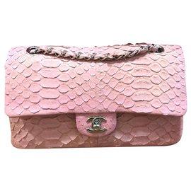 Chanel-Chanel rosa médio bolsa de pele de cobra-Rosa