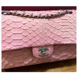 Chanel-Chanel pink medium snakeskin flap bag-Pink