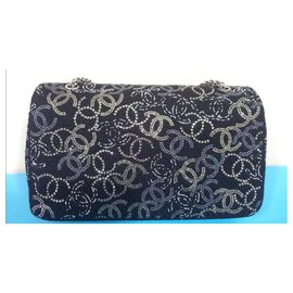 Chanel-Chanel Medium black tweed swarovski classic flap bag-Black