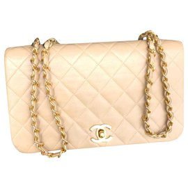 Chanel-Sac à rabat Chanel beige vintage GHW-Beige