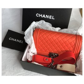 Chanel-Medium Boy Bag Galuchat wide strap-Orange