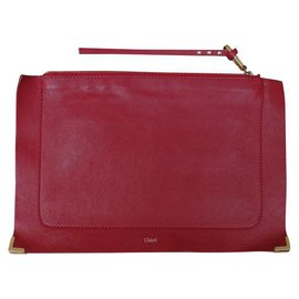 Chloé-Clutch bags-Dark red