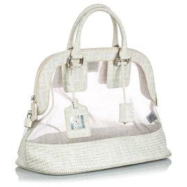 Fendi-Fendi White Zucca Mesh Handbag-White